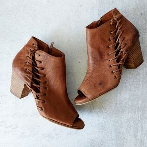 Lucky Brand Hartlee Brown Leather Ankle Booties